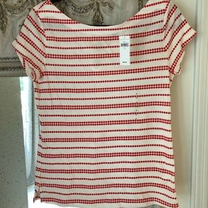 Gap Red and White Striped Top With Ties size m
